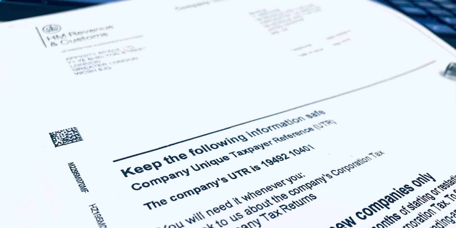 HMRC letter displaying a limited company's UTR number and other tax-related information.