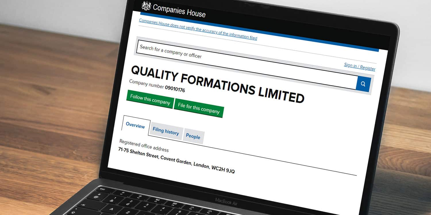 Image of a laptop displaying Quality Company Formations' listing on the Companies House Service website, which is one of the locations where you can find your Company Registration Number.