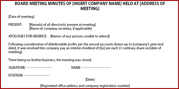 How to issue dividends in a private company limited by shares for Minutes of shareholders meeting template