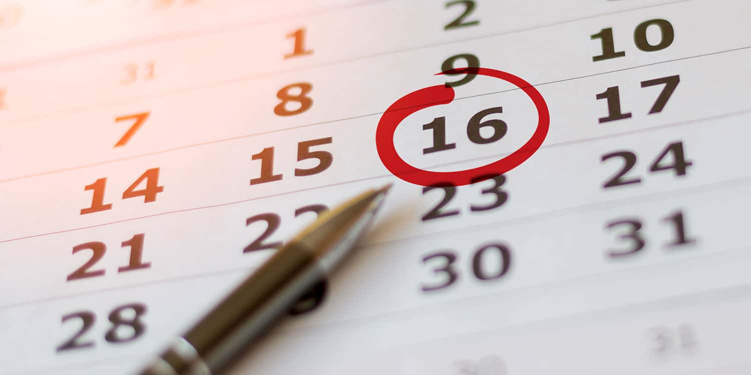 Image of a paper calendar with the number 16 circled, illustrating the importance of knowing your company's accounting reference date.