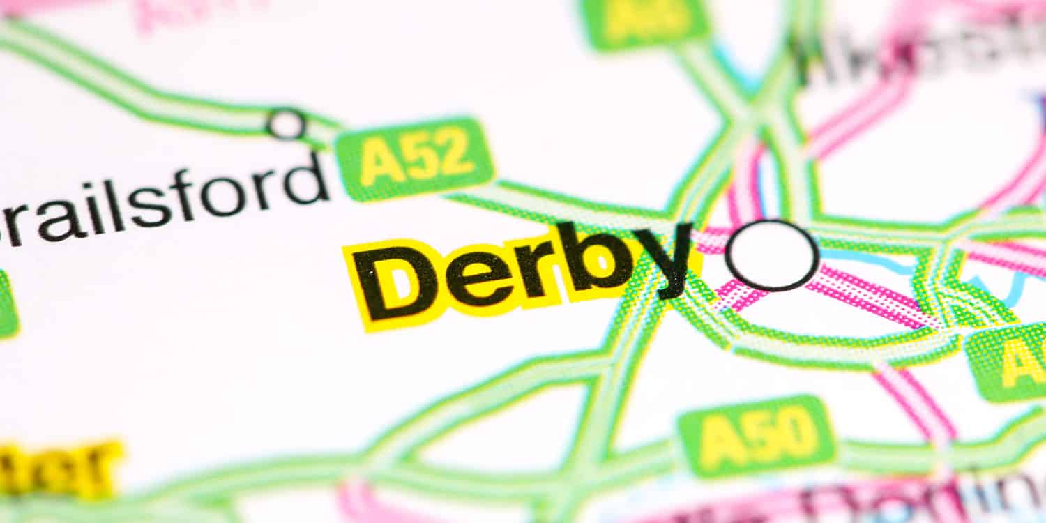 Map showing the the city of Derby.
