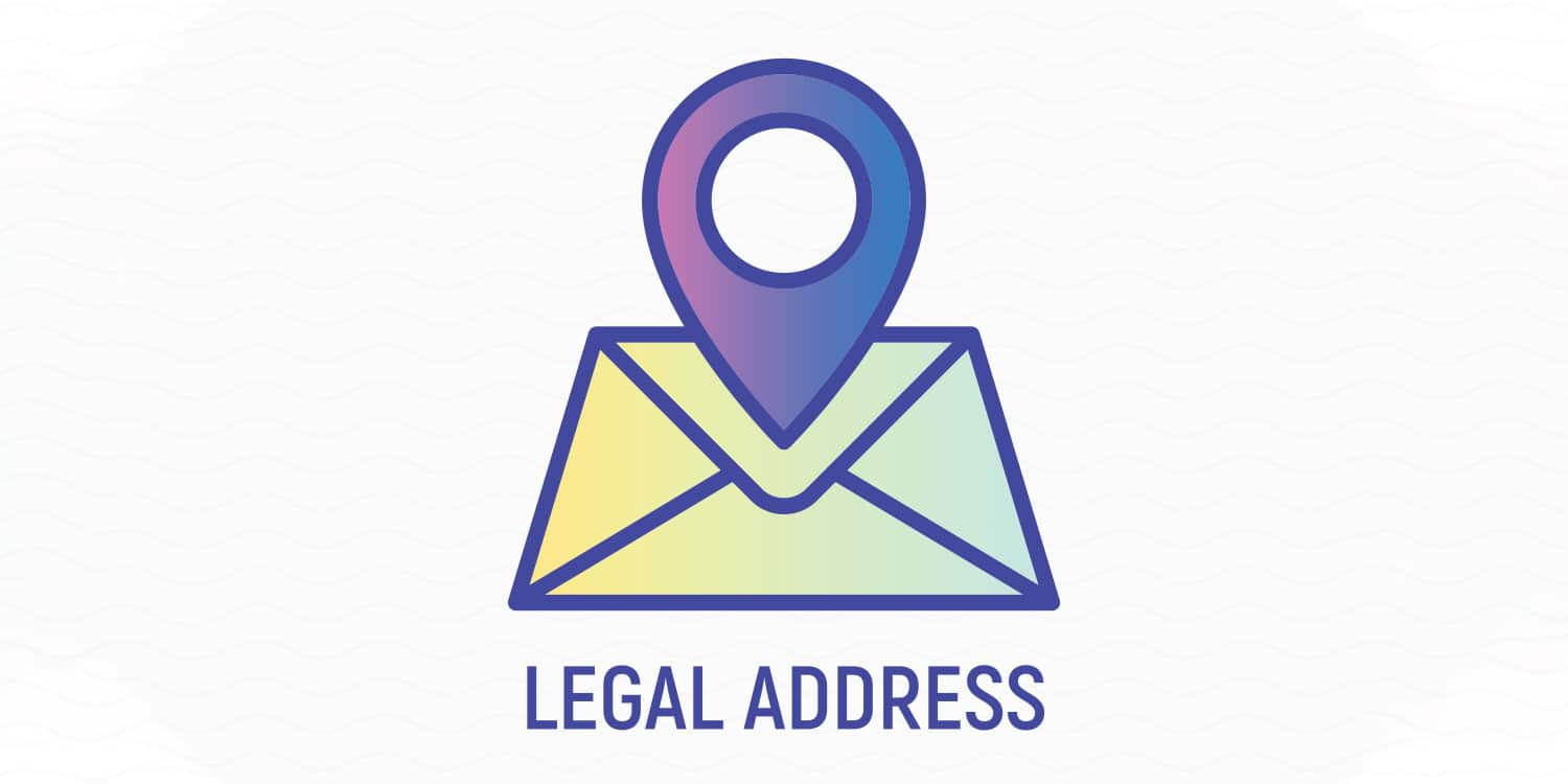 Location and envelope icon with heading 'LEGAL ADDRESS', illustrating the purpose of a registered office address.