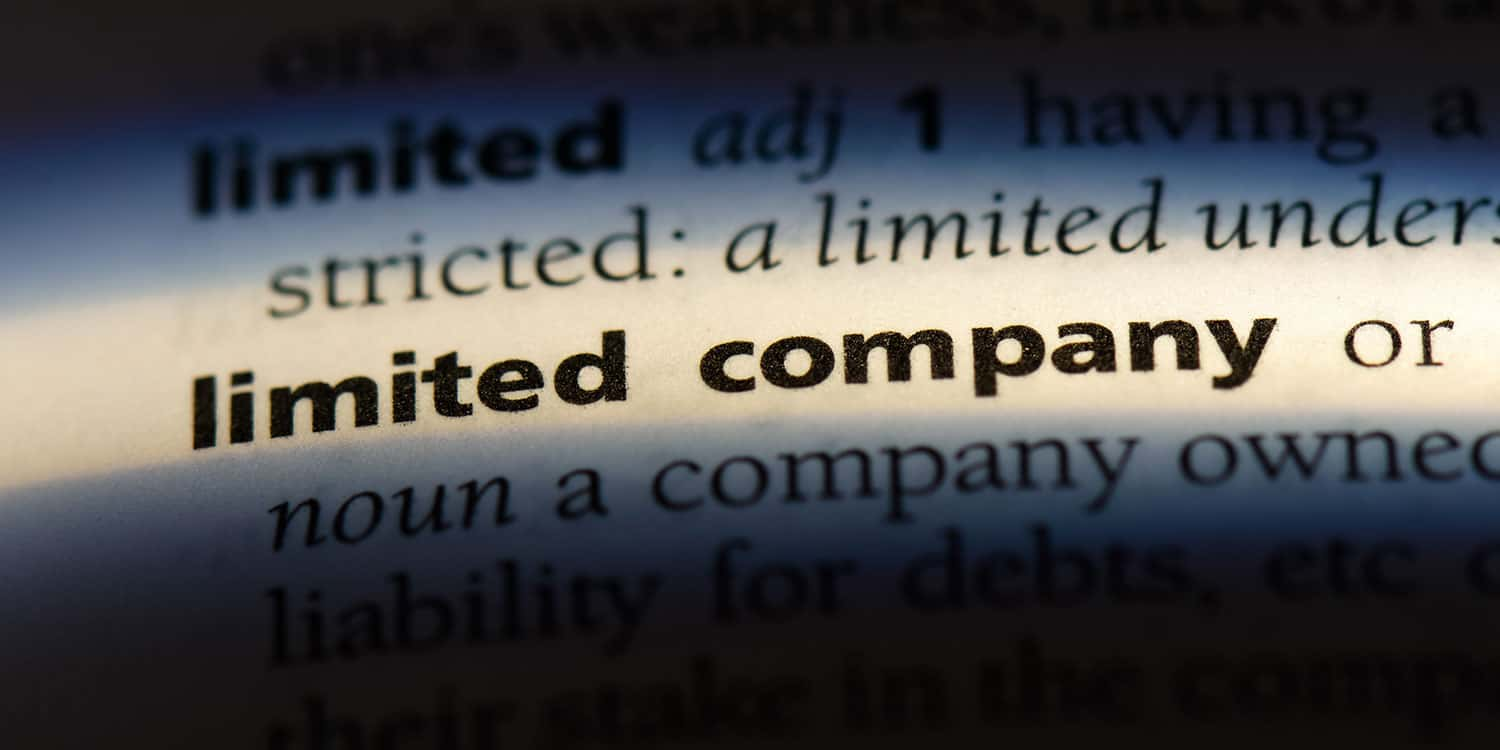 The words 'limited company' highlighted within a glossary of technical terms document.