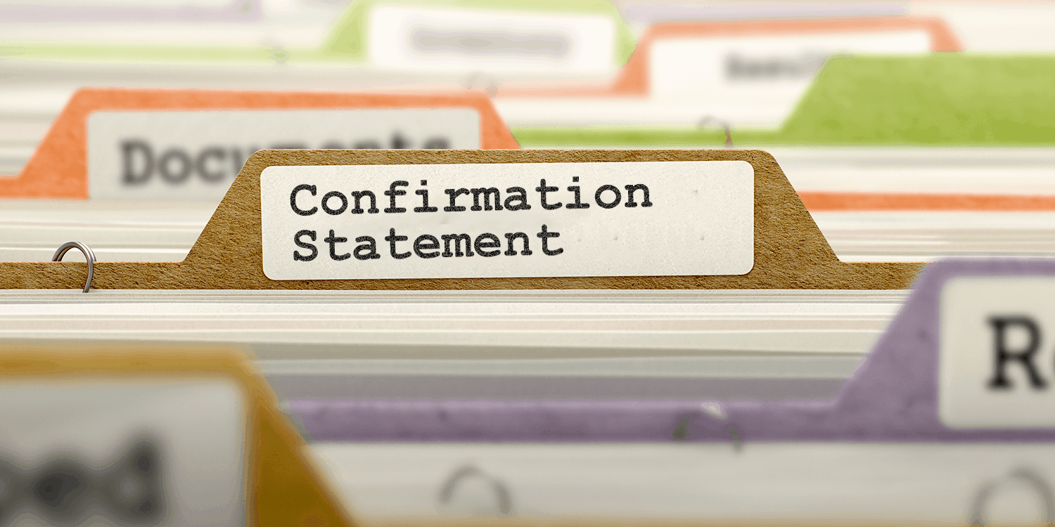 "Image of rows of files in between labelled dividers, one of which reads ""Confirmation Statement""."