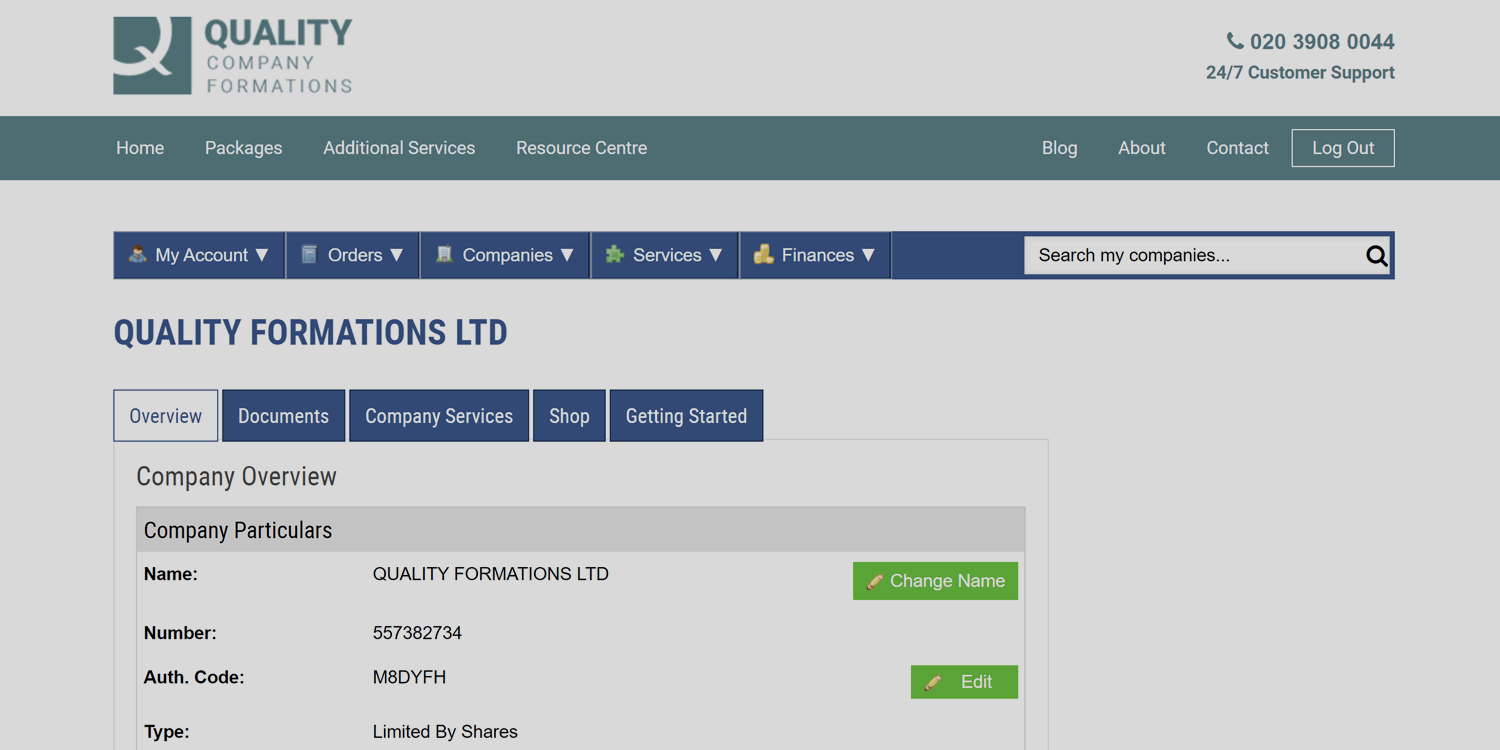 Image of Quality Formations Online Client Portal, displaying an example of where to find your company authentication code.