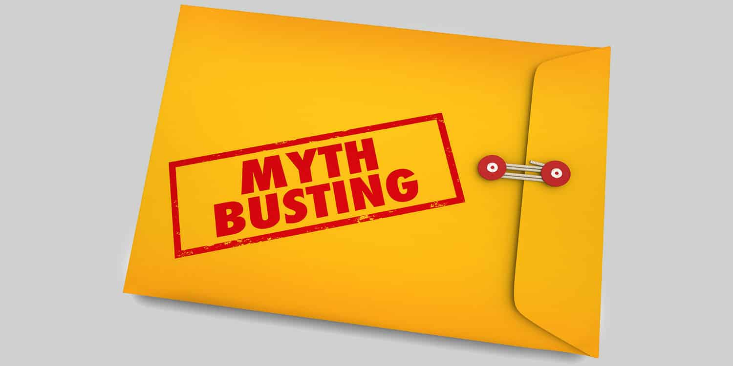 "Yellow envelope with ""Myth Busting"" printed in red ink."