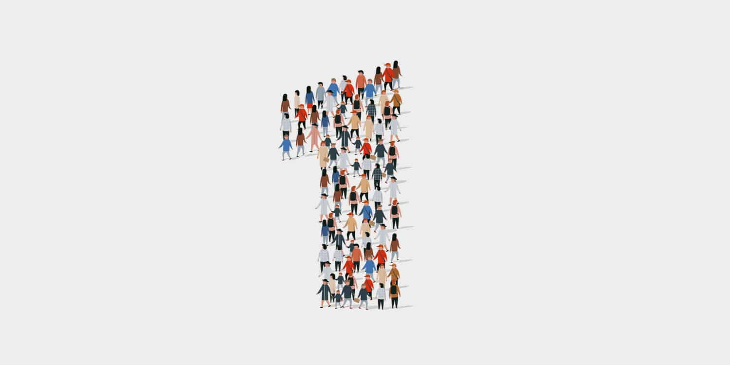 An illustration of people in a crowd in the shape of the number '1' - denoting you only need one person to set up a limited company.