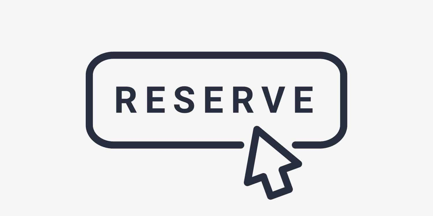 "The word ""reserve"" in black text within a rectangular black border, with an arrow hovering above."
