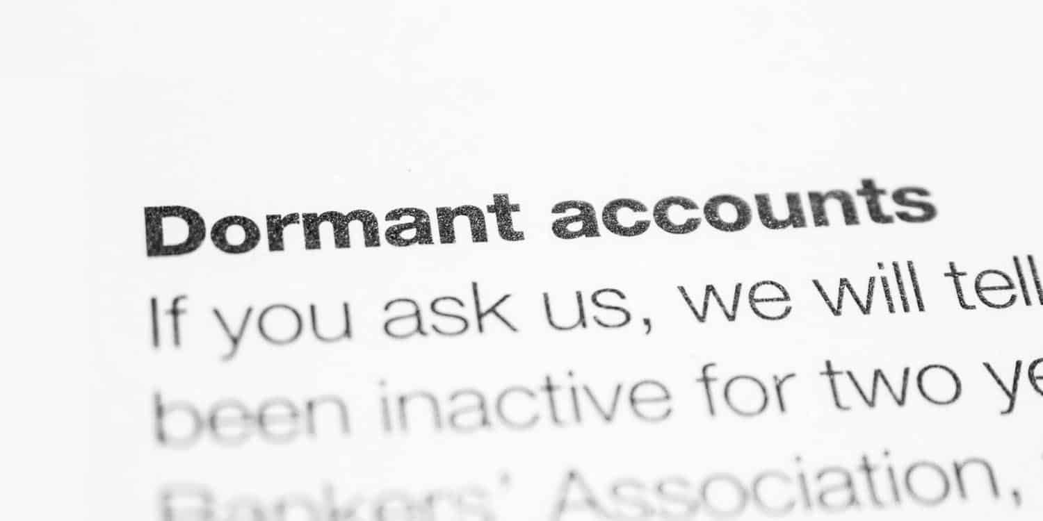 Text from a reference book explaining the phrase 'dormant company accounts'.
