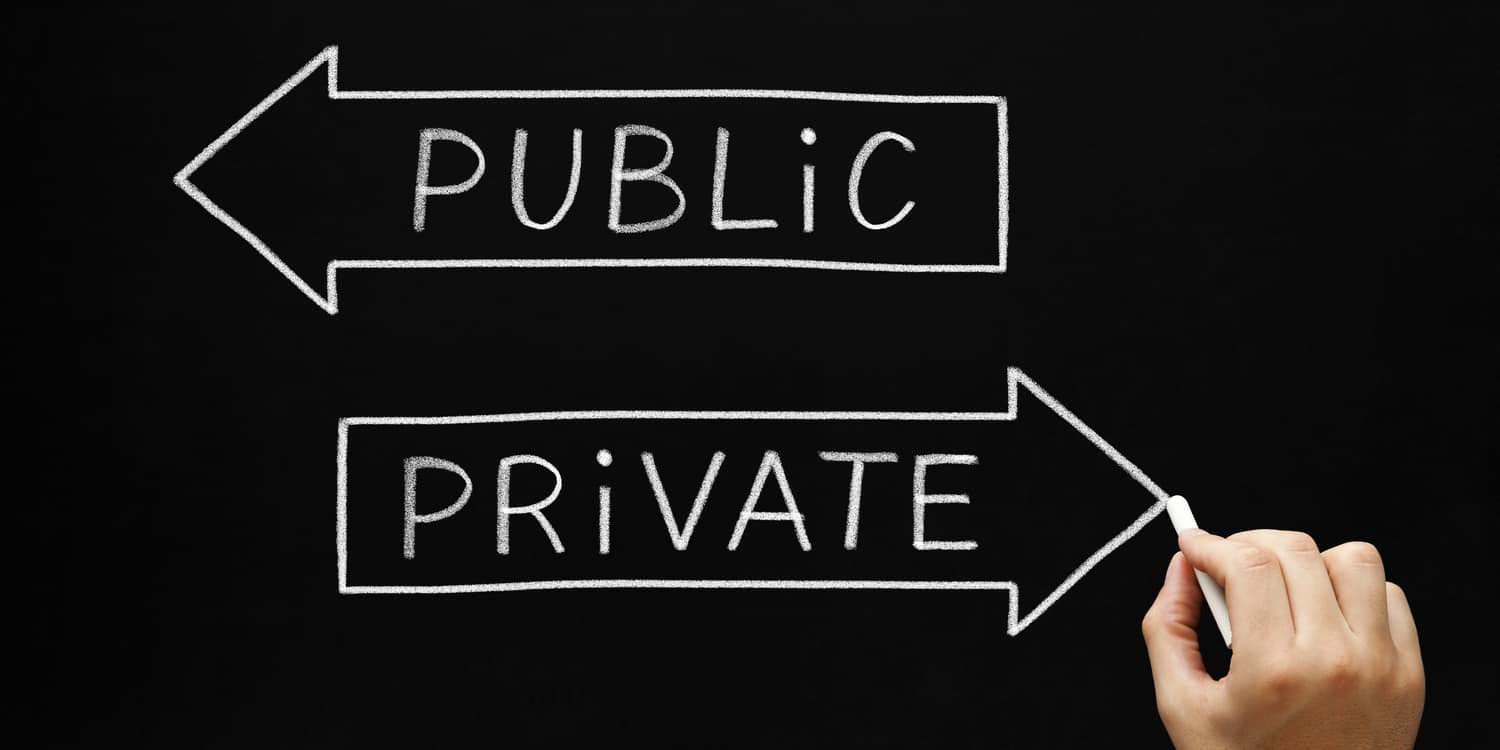 A blackboard displaying chalk drawing of 2 signs 'Public' and 'Private' pointing in opposite directions.