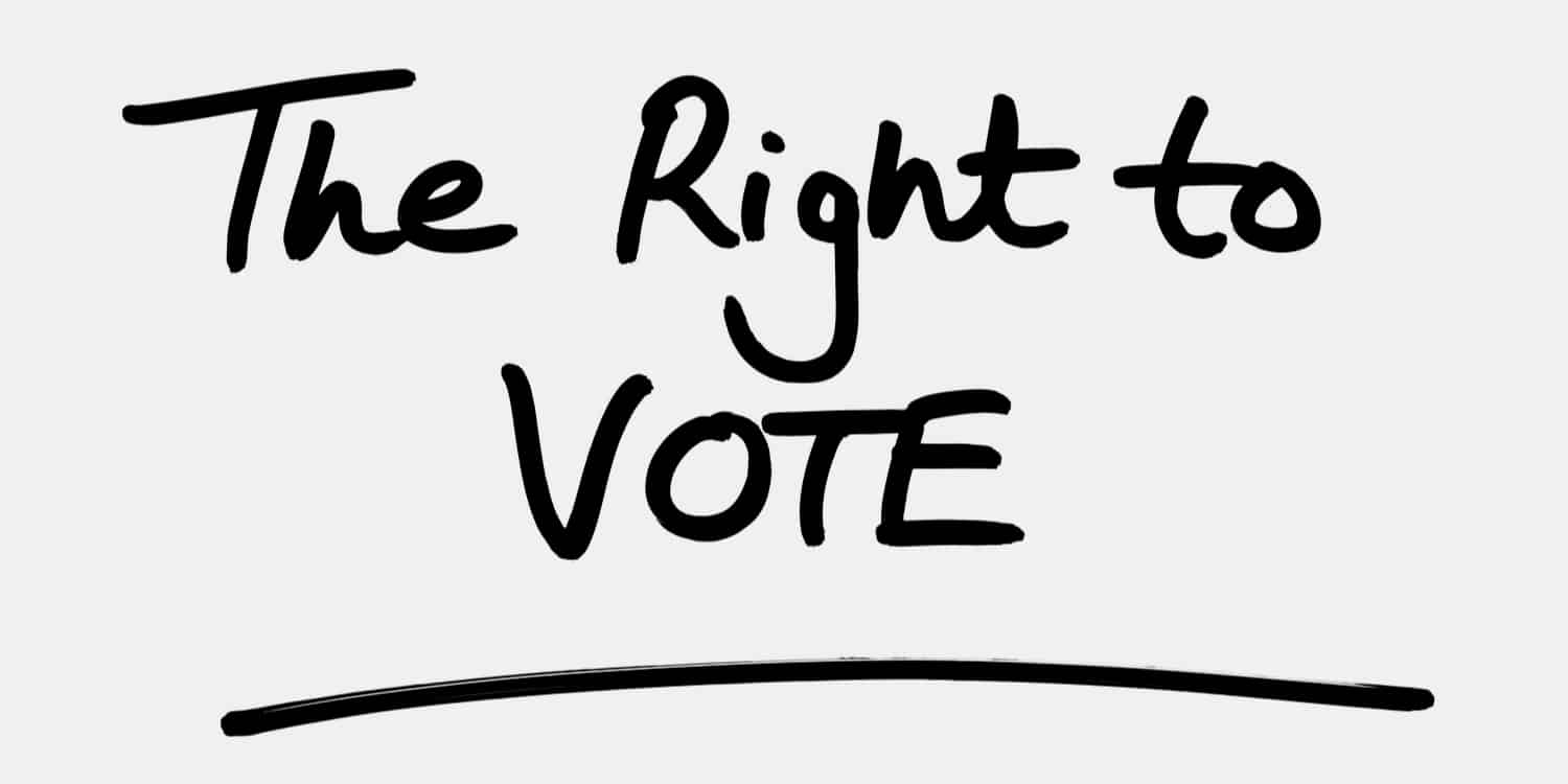 """A white background with """"The Right to Vote"""" in black, hand-written text, illustrating one of the rights of shareholders."""