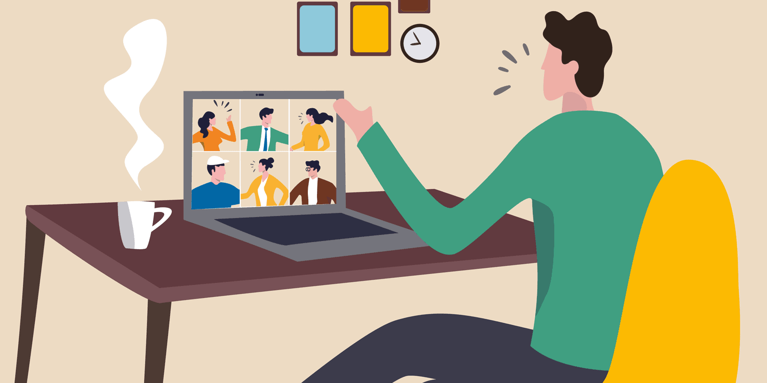 Illustration of business person conducting a virtual business meeting at home using Zoom or Teams.