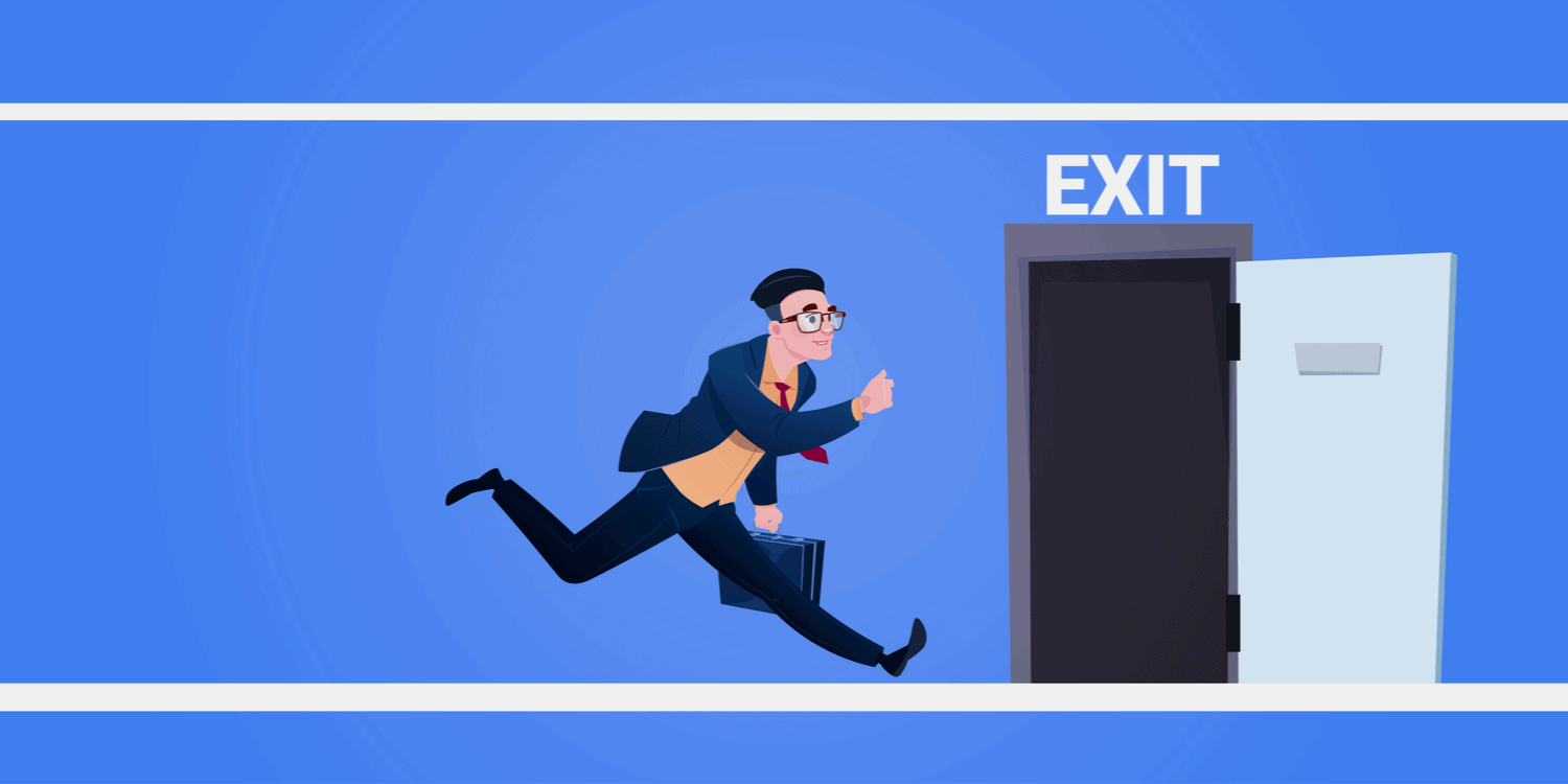 Cartoon type illustration of a busienssman running for the exit door.
