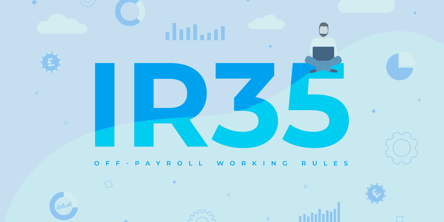 """Illustration displaying """"IR35"""" in large blue letters with clouds in background."""