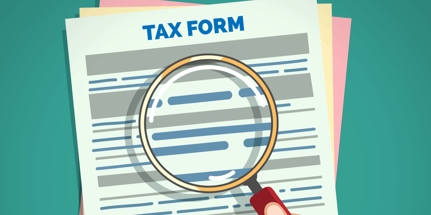 Illustration of a Tax Form with a hand holding a magnifying glass over it.
