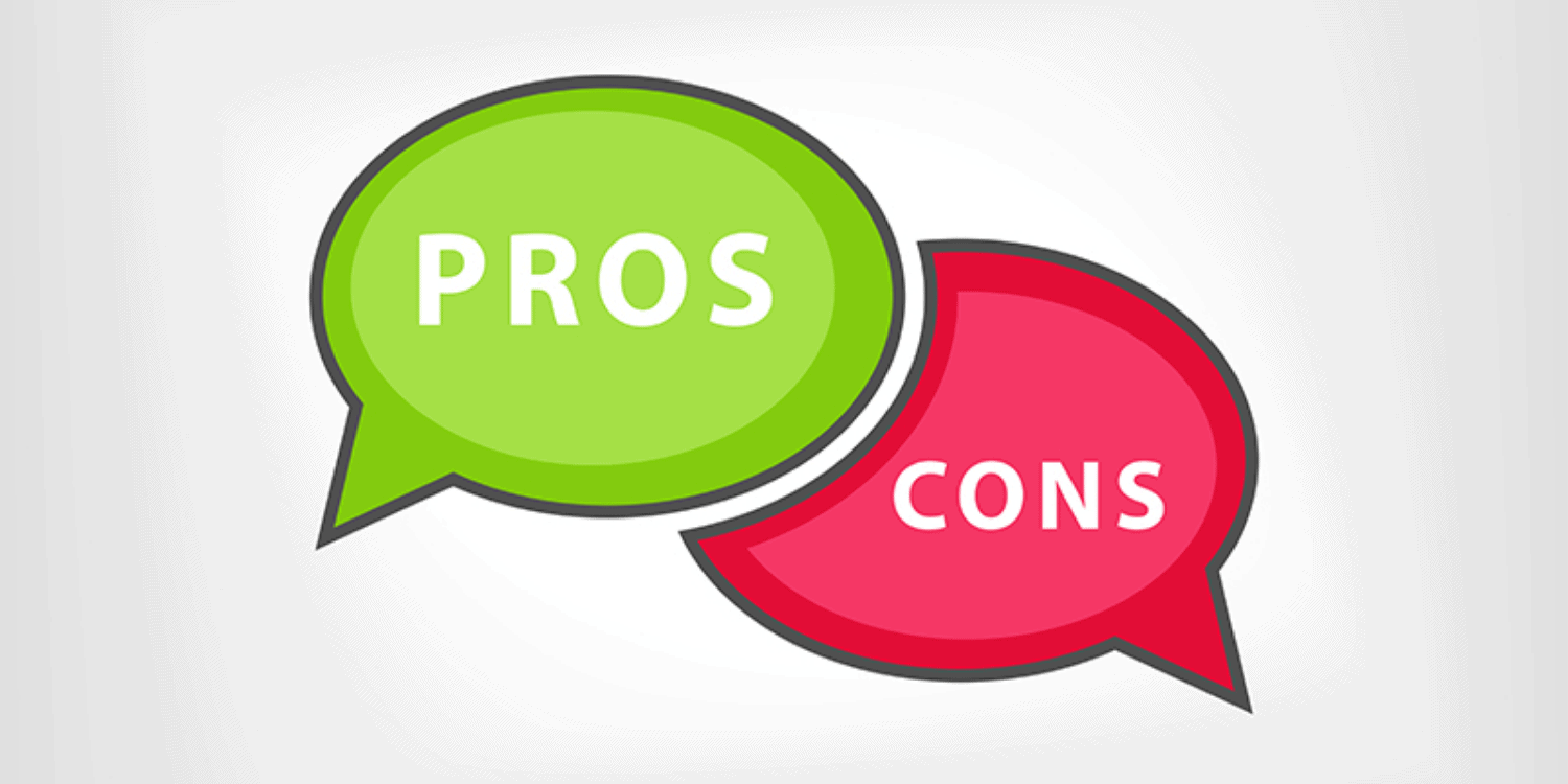 Illustration displaying 2 speech bubbles - one shaded green with the word 'PROS' anf the other shaded red with 'CONS.'