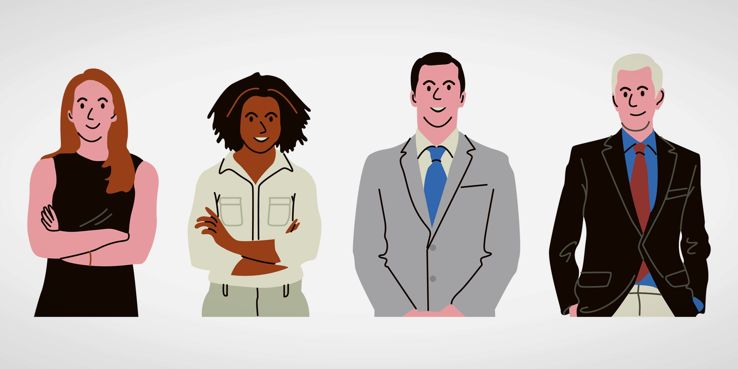 Illustration of 4 company officers in casual and business dress against a white background
