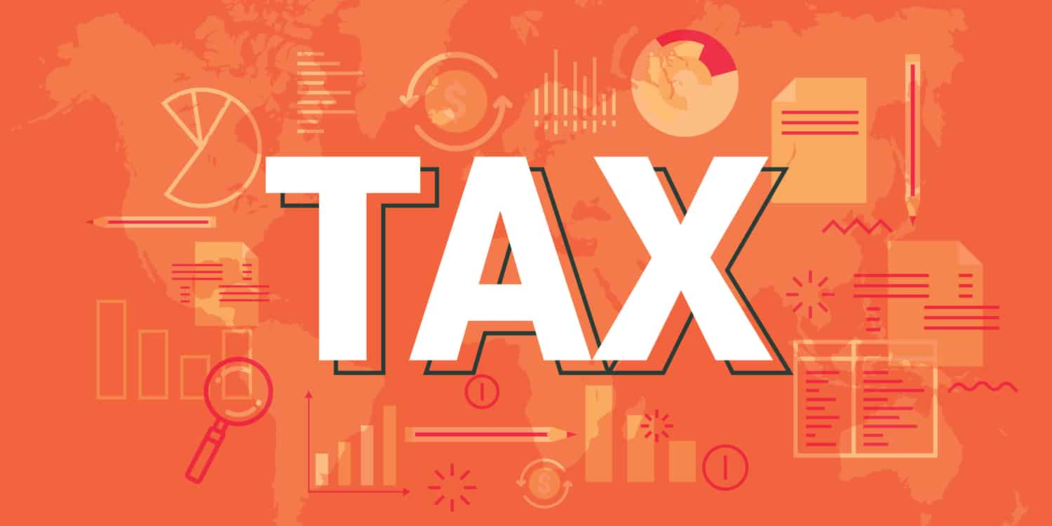 Illustration displaying the word 'TAX' in large capital letters against an orange background.