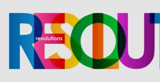 RESOLUTIONS letters banner in different colours - illustrating the company resolutions concept
